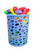 Сhildren's sports balls in blue basket Stock Photo