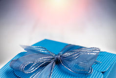Blue carton gift box with copyspace for text. Royalty Free Stock Image
