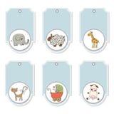 Blue cartoon animals labels set Stock Image
