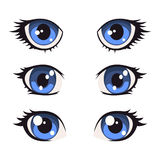 Blue Cartoon Anime Eyes Set. Vector Royalty Free Stock Photography