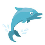 Blue cartoon baby dolphin . Flat vector illustration isolated on white background. Royalty Free Stock Image