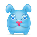 Blue cartoon bunny emoticon character with pink heart Stock Image
