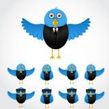 Blue cartoon business bird Royalty Free Stock Images