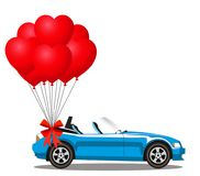 Blue cartoon cabriolet car with red helium heart shaped balloons. Blue modern opened cartoon cabriolet car with bunch of red helium heart shaped balloons with Stock Photo