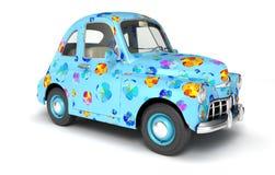 Blue cartoon car with flower print. 3D illustration Royalty Free Stock Photo