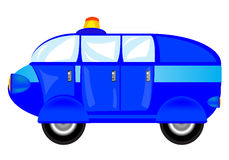 Blue cartoon car on white background Stock Photos