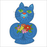 Blue cartoon cat with flowers. Stock Photos