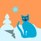 Blue cartoon cat on snowing area with small tree. Stock Image