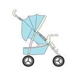 Blue cartoon children's stroller Stock Photography