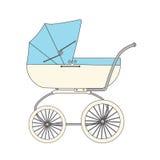 Blue cartoon children's stroller Stock Images