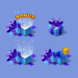 Blue cartoon colorful isometric gift boxes set with bonus. Royalty Free Stock Images