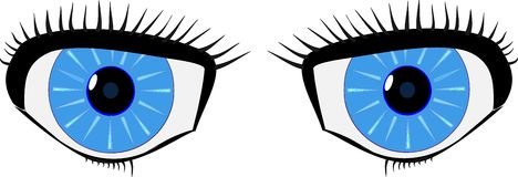 Blue cartoon eyes Royalty Free Stock Photography
