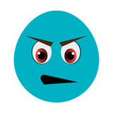 blue cartoon face with angry expression, graphic Royalty Free Stock Photography