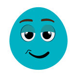 blue cartoon face with chill expression, graphic Stock Photos