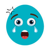 blue cartoon face with emotional expression, graphic Stock Photo