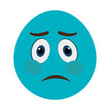 blue cartoon face with sad expression, graphic Royalty Free Stock Photos