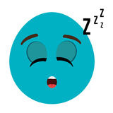 blue cartoon face with sleepy expression, graphic Royalty Free Stock Images