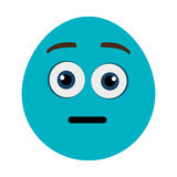 blue cartoon face with surprised expression, graphic Royalty Free Stock Image