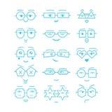 Blue cartoon faces with geometrical eyeglasses icons set. On white background Stock Images