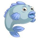 Blue cartoon fish Stock Image