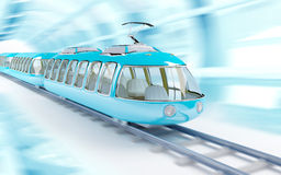 Blue cartoon futuristic train Stock Photography