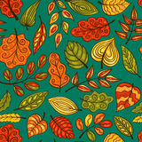 Blue cartoon hand-drawn seamless pattern with leaves Stock Image