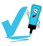 Blue cartoon highlighter pen with bold tick or check mark. Stock Photography