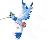 Blue cartoon hummingbird Stock Photos