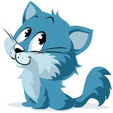 Blue Cartoon Kitten or Cat. Happy, smiling blue cartoon character of a kitten or cat Royalty Free Stock Image
