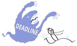 Blue cartoon monster with the word DEADLINE written on it haunting scared stick man. Pressure, stress, vector illustration Stock Photography