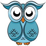 Blue Cartoon Owl Royalty Free Stock Images