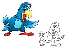 Blue cartoon parrot Royalty Free Stock Photo