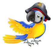 Parrot pirate character. A blue cartoon parrot with a pirate hat and eye patch pointing with its wing Royalty Free Stock Photos