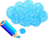 Blue cartoon pencil with doodle cloud Stock Photos