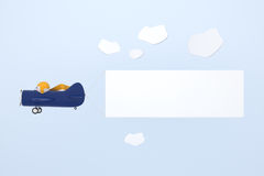 Blue cartoon plane with banner Stock Image