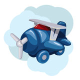 Blue cartoon plane. With propeller Stock Images