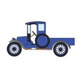 Blue cartoon retro car. Royalty Free Stock Photos