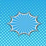 Blue cartoon speech bubble in pop art style on burst background Royalty Free Stock Image