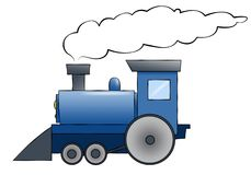 Blue Cartoon Train. A blue cartoon train chugging along with room for text on the train or in the smoke Stock Images