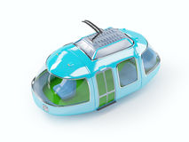 Blue cartoon tram one wagon Stock Photography