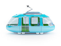 Blue cartoon tram one wagon side view Royalty Free Stock Photos