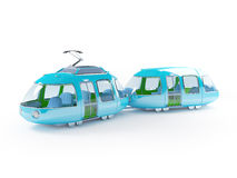 Blue cartoon tram two wagon Royalty Free Stock Photos