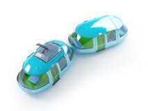 Blue cartoon tram two wagon Stock Image