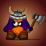 Blue cartoon viking with an ax Royalty Free Stock Images