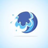 Blue Cartoon Wave Stock Images