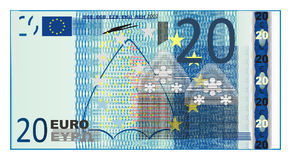 Blue cash euro. Cash of euro with numers 20 Stock Images