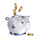 Blue cash pig Stock Photos