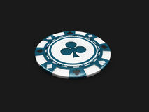 Blue casino chip with clubs signes isolated balck background. 3d Illustration Royalty Free Stock Image