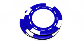 Blue Casino Chips. Casino chips with a central blank space for your logo. Isolated on white background Royalty Free Stock Photo