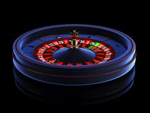 Blue casino roulette wheel isolated on black background. 3d rendering illustration. royalty free stock image